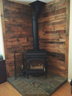 corner Fireplace Tile Ideas (outside wood stove bedrooms) Wood Stove Surround, Wood Stove Hearth, Stove Fireplace, Wood Burner, Fireplace Ideas, Wood Stove Wall, Farmhouse Fireplace, Hearth Pad, Diy Wood Stove