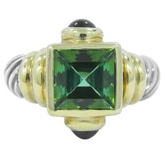 David Yurman Green Tourmaline Amethyst Silver Gold Ring | From a unique collection of vintage fashion rings at https://www.1stdibs.com/jewelry/rings/fashion-rings/
