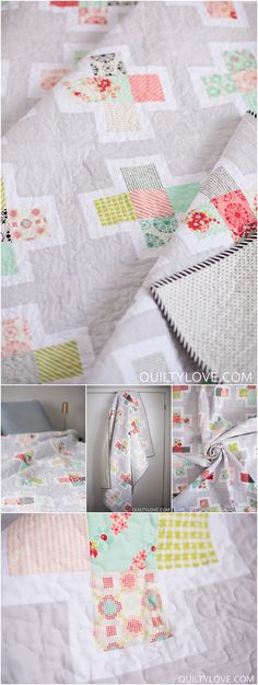 Plus squared quilt pattern by Emily of quiltylove.com. This is a modern plus quilt pattern that highlights your favorite fabrics. Fat Quarter friendly.
