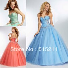 Stunning Beaded Sweetheart Bodice Corset Orange Purple Mint Tulle Ball Gown Prom Dresses 2014 Free Shipping