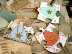 Christmas Angels from spare puzzle pieces.