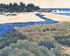 ✨ Gordon Mortensen, American (*1938) - Steward's Cove, 1979. Reduction color woodcut, Edition 145, 8 x 10 inches