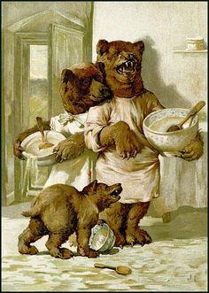 OLd illustration for children book Three bears