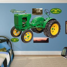 Fathead REAL.BIG. wall decals are hi-definition action images that you stick on any smooth surface. You can move them and reuse them and they are safe for walls. Title: John Deere 1937 L Tractor Mater