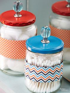 Use repurposed glass jars, such as pickle jars or mason jars to add pretty DIY style and organization to your home! Our project ideas include using pickle jars to store bathroom items such as cotton balls and Q-tips or using old mason jars to keep your ga Mason Jars, Mason Jar Crafts, Diy Crafts Dress, Diy And Crafts, Tape Crafts, Glass Containers, Glass Jars, Storage Containers, Storage Jars