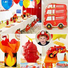 Super cute Fireman 3rd Birthday Party
