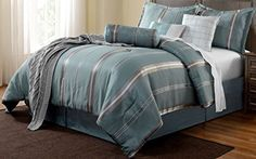 Park Avenue QUEEN Size 7pc Comforter Green Milieu Blue, silver, Chrome colors Bedding Stripes Silky Fabric Bed Cover