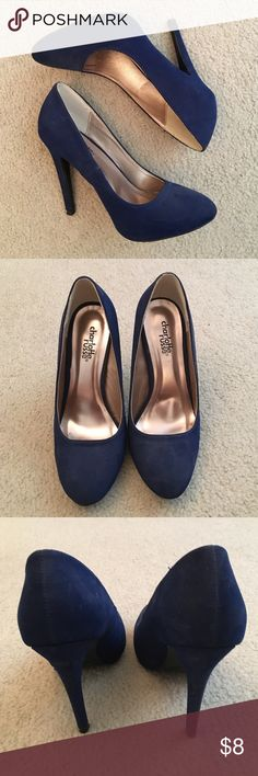 "Blue ""Suede"" Heels. Suede like material. Has a few spots, but honestly cannot see them when they're being worn. 4.5"" heels from Charlotte Russe. Charlotte Russe Shoes Heels"