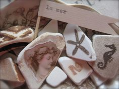 hand stamped and decoupaged sea pottery