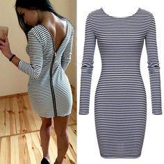 Women V Back Zipper Bodycon Pencil Dress Stripe Long Sleeve Mini Dress | eBay