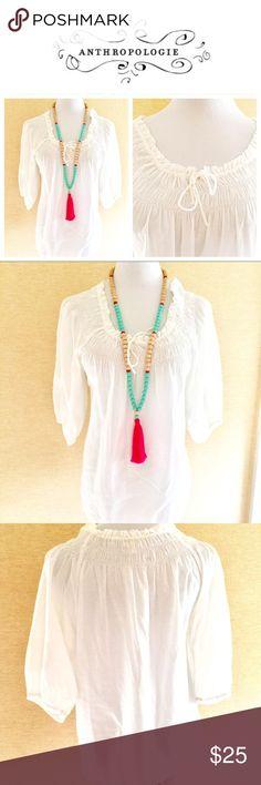 White cotton peasant blouse size 6 White cotton peasant blouse size 6. Lightweight and over sized. Anthropologie Tops Blouses