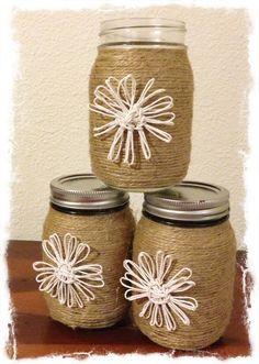Twine wrapped mason jar twine flowers