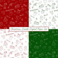 Just Peachy Designs: Free Christmas Doodle Digital Paper Set