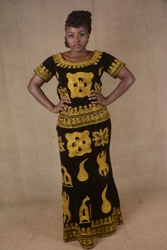 Classy top and full length skirt toghu outfit Modern African Print Dresses, Latest African Fashion Dresses, African Men Fashion, African Beauty, Traditional African Clothing, Traditional Dresses, African Attire, African Dress, African Wear Styles For Men