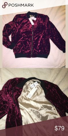 NWT LF burgundy bomber jacket size small Brand new with tags gorgeous LF velvet burgundy bomber jacket size small. Absolutely gorgeous LF  Jackets & Coats