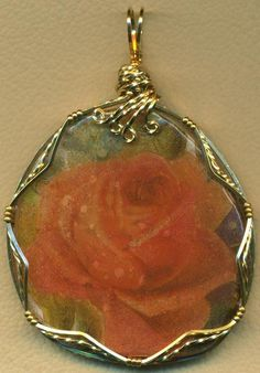 Victorian Floral Decal Polymer Clay Brass Wire Wrap Pendant