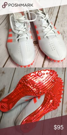 """1261da5bce2 NWOT  Adidas """"Speed of Light"""" White Cleats NWOT  new without tags See  pictures for details! - White   metallic orange! No trades! 💕 Bundle or  more items ..."""