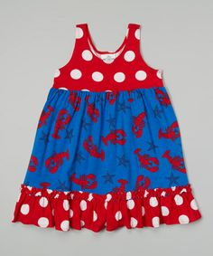 Another great find on #zulily! Blue Lobster Babydoll Dress - Infant, Toddler & Girls by Corky's Kids #zulilyfinds