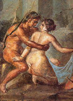 Satyr and Maenad. Roman fresco from Casa degli Epigrammi in Pompeii. Museo Archeologico Nazionale (Naples), inv. nr. 27705.