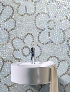 Image detail for -Circular floral mosaic tiles pearlized white silver bathroom washroom