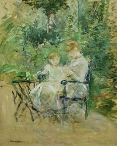 In The Garden Painting by Berthe Morisot