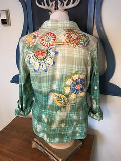 Upcycled, Distressed and Embellished Flannel Shirt, Green Flannel Shirt, Bleach Splattered With Floral Embellishments, Medium Flannel Shirt Gebleichte Shirts, Bleach Shirts, Flannel Shirts, Redo Clothes, Sewing Clothes, Green Flannel Shirt, Green Shirt, Clothing And Textile, Upcycled Clothing