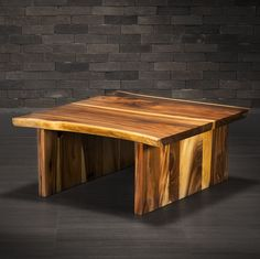 Freeform Coffee Table Made of Suar with Wooden Legs