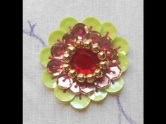 HAND EMBROIDERY: How to do- A Big Beautiful rosette Sequin Flower using Kundan…
