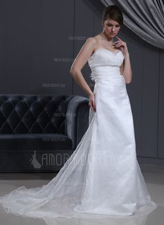 Empire Sweetheart Chapel Train Organza Satin Wedding Dress With Ruffle Flower(s) (002000065)
