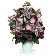 Burgundy Open Roses with Stargazer Lilies Silk Flower Basket by Sympathy Silks® (BA1565) >>> Read more reviews of the product by visiting the link on the image.