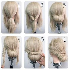 70 ideas hair diy updo ideas for 2019 Easy Updos For Long Hair, Simple Wedding Hairstyles, Trendy Hairstyles, Braided Hairstyles, Wedding Hairdos, How To Do Hairstyles, Updo For Work, Updos For Medium Length Hair Tutorial, Hairstyles For Medium Length Hair Easy