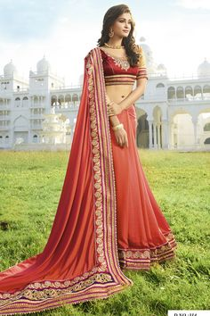 PEACH ROYAL CHIFFON IN DOUBLE SHADES DESIGNER WEDDING SAREE at Lalgulal.com. To Order :- http://goo.gl/xIO0mU To Order you Call or Whatsapp us on +91-95121-50402. COD & Free Shipping Available only in India.