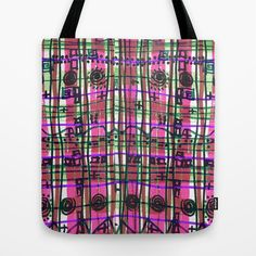 Bizarre Spacy Plaid Fuchsia Tote Bag, pattern, scribble, mint green, lime green, purple, grid