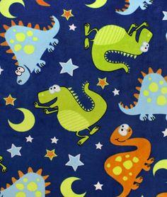 Blue Dinosaurs All Over Minky Fabric | onlinefabricstore.net