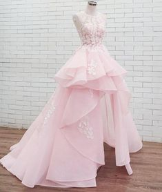 Pink round neck lace long prom dress sweet dress, Shop plus-sized prom dresses for curvy figures and plus-size party dresses. Ball gowns for prom in plus sizes and short plus-sized prom dresses for Baby Pink Prom Dresses, Cute Prom Dresses, Sweet 16 Dresses, Sweet Dress, Dresses For Teens, Ball Dresses, Pretty Dresses, Homecoming Dresses, Ball Gowns