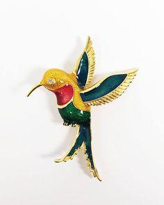 Enamel Hummingbird Brooch Red Green Gold Stipeled Pin