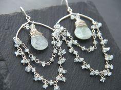 Boho, Aquamarine, Chandelier Earrings, Sterling Silver, Wire Wrapped, Gemstone Briolette, Rosary Chain, Wedding Earrings, Flower Earrings