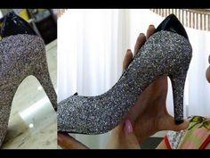 Customizando sapatos com glitter