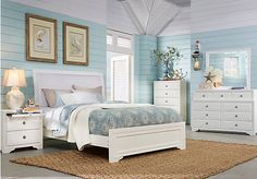 Belcourt White 5 Pc Queen Upholstered Bedroom. $788.00.  Find affordable Bedroom Sets for your home that will complement the rest of your furniture.