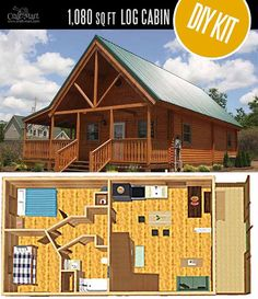Mountain King Log Cabin by Conestoga Log Cabins & Homes - quality small log cabin kits and pre-built cabins that you can afford! Small Log Cabin Kits, Tiny Log Cabins, Small Cabin Plans, Cabin House Plans, Tiny House Cabin, Log Cabin Homes, Cabins And Cottages, Tiny House Design, Small House Plans