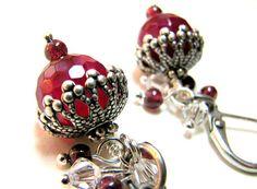 Gemstone Garnet Embellished Earrings  Ruby Red Earrings