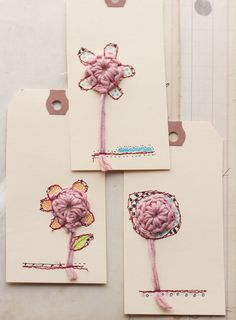 Jenny Doh: Mixed Media Tags with Crochet, Free Motion Stitching & Doodles how-to; would also make cute cards . Crochet Gifts, Free Crochet, Card Tags, Gift Tags, Wrapping Gift, Diy And Crafts, Paper Crafts, Art Textile, Pretty Packaging