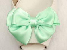 Pastel green satin bow