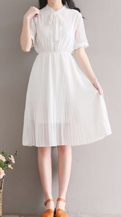 b49370899332 Women loose fit over plus size retro bow ribbon collar white dress classic  chic