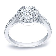 Auriya Platinum 1ct TDW Certified Diamond Halo Engagement Ring (H-I, SI1-SI2) (Platinum - Size 7.5), Women's, White