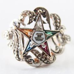 Antique Order Of The Eastern Star 14k Gold Ring With gemstones! Size 6.5