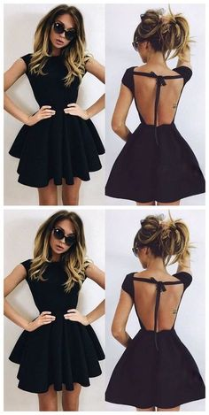 ace87a4b24a Black Pleated Round Neck Half Sleeve Homecoming Cute Skater Mini Dress