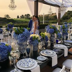 Beautiful couple at tonight's rehearsal dinner Blue Table Settings, Beautiful Table Settings, Wedding Centerpieces, Wedding Table, Best Wedding Decorations, Wedding Dinner, Wedding Weekend, Decoration Table, Color Of The Year