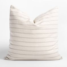 An instant classic, this oversized cream and warm grey striped pillow has an inviting and casual appeal. It's subtle texture and pattern will add the perfect cottagey or farmhouse layer to any space. Large Beds, Subtle Textures, Warm Grey, Grey Stripes, Decorative Pillows, Bed Pillows, Farmhouse, Cream, Space