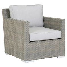 Shop the Sunset West Majorca Coastal Grey Cushion Outdoor Accent Club Chair and other Outdoor Chaise Lounges at Kathy Kuo Home Outdoor Bar Stools, Outdoor Coffee Tables, Outdoor Seating, Outdoor Dining, Outdoor Chairs, Sunset West, Beige Cushions, Dining Arm Chair, Majorca